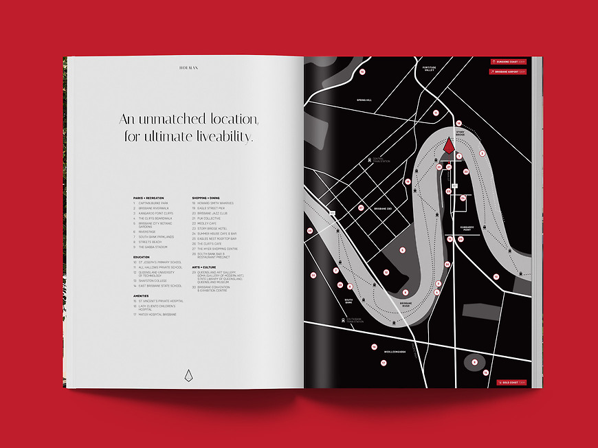 Holman, Kangaroo Point Apartments - Lifestyle Brochure and Amenity Map by Small & Co